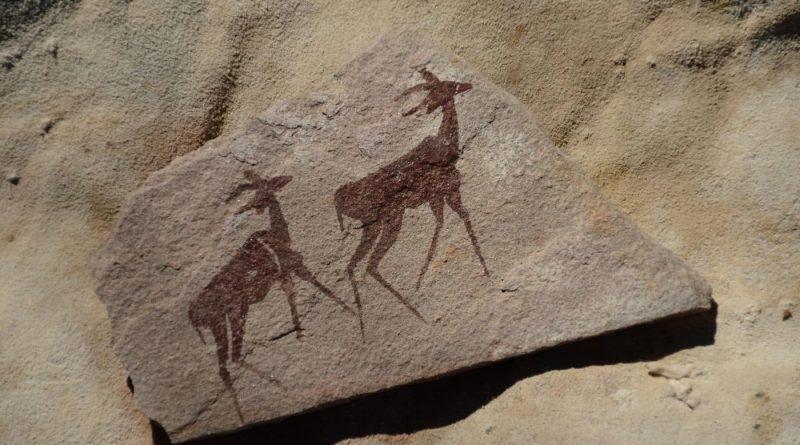 Arte rupestre al aire libre en el Wildebeest Kuil Rock Art Center